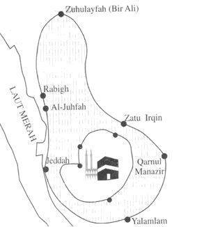 Peta tempat miqat unutk Haji